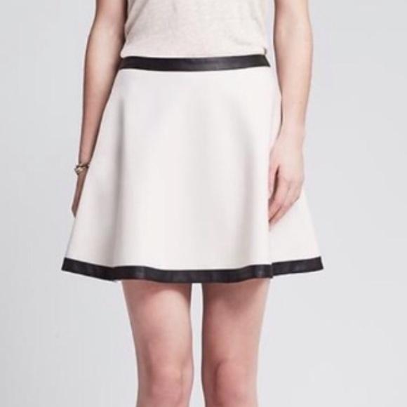 47547845de Banana Republic Skirts   Cream Black Trim Circle Skirt   Poshmark